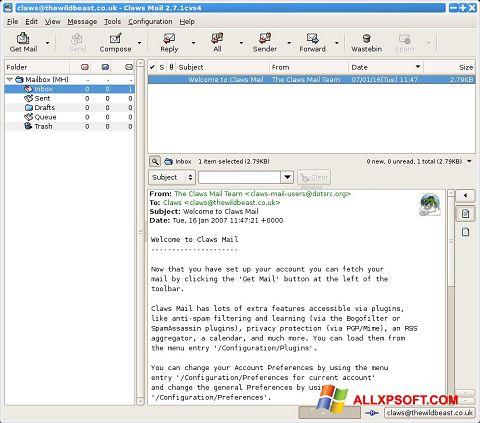 Screenshot Claws Mail für Windows XP