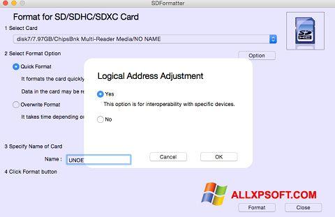 Screenshot SDFormatter für Windows XP