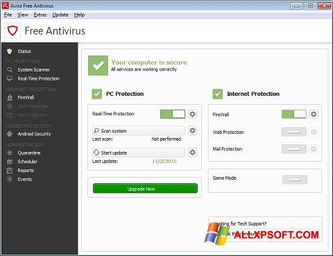 Screenshot Avira Free Antivirus für Windows XP