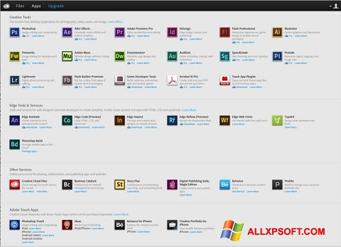 Screenshot Adobe Creative Cloud für Windows XP