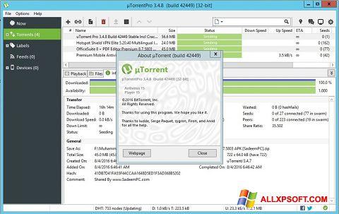 Screenshot uTorrent Pro für Windows XP
