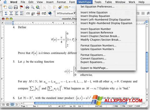 Screenshot MathType für Windows XP
