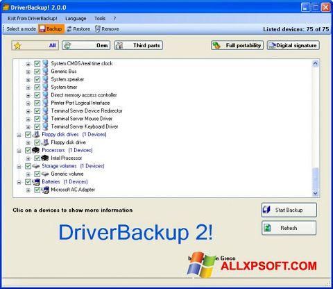 Screenshot Driver Backup für Windows XP