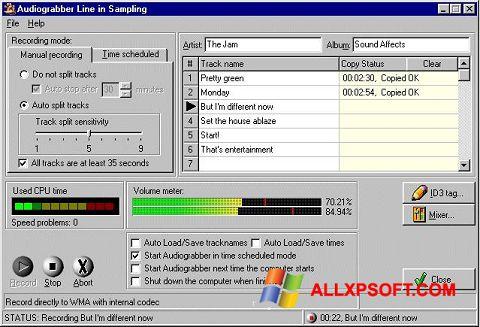Screenshot Audiograbber für Windows XP