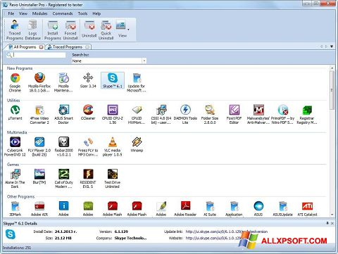 Screenshot Revo Uninstaller für Windows XP