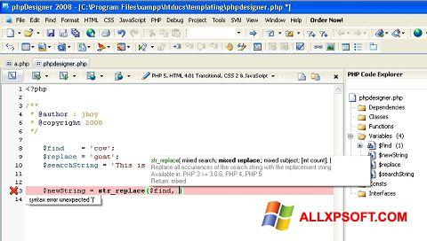 Screenshot phpDesigner für Windows XP