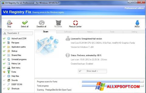 Screenshot Vit Registry Fix für Windows XP