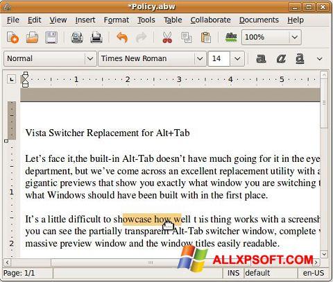 Screenshot AbiWord für Windows XP