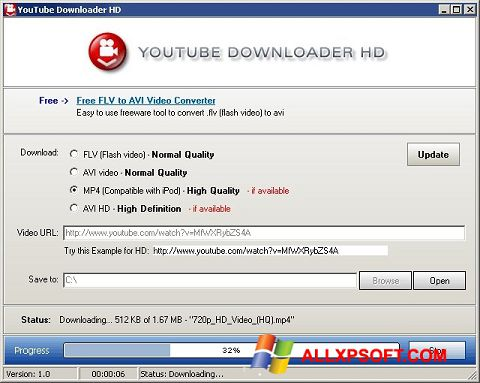 Screenshot Youtube Downloader HD für Windows XP