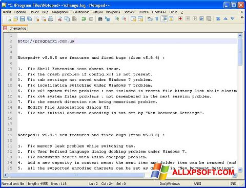 Screenshot Notepad++ für Windows XP