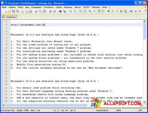 Screenshot Notepad++ für Windows XP