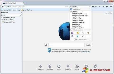 Screenshot Waterfox für Windows XP