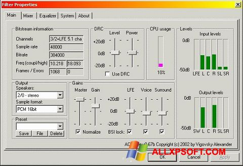 Screenshot AC3 Codec für Windows XP