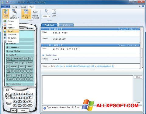 Screenshot Microsoft Mathematics für Windows XP