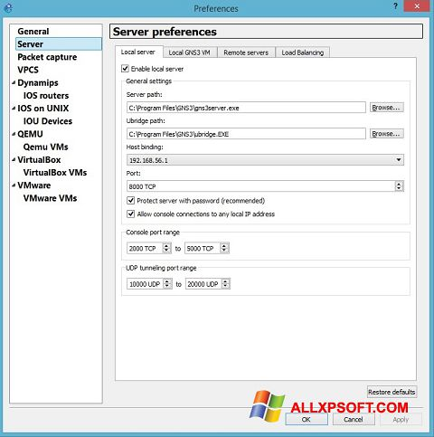 Screenshot GNS3 für Windows XP