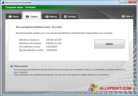 Screenshot Microsoft Security Essentials für Windows XP